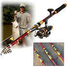 Spincasting Fishing Rod and Reel Combos Set Telescopic Travel Fishing Pole Kits