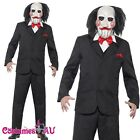 Mens Saw Jigsaw Creepy Costume Halloween Movie Horror Scary Puppet Mask & Hair