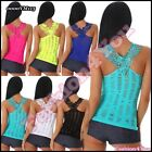 Sexy Ladies Embroidered Tank Top Women's Casual Vest Top One Size 6,8,10,12 UK