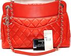 Auth Chanel Shopping Tote 2015 Large Quilted Classic Cc 30 Cm Lambskin Purse Red