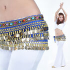New Belly Dance Costume Hip Scarf Belt Velvet 228pcs Golden Coins 9colors