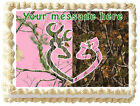 PINK CAMO TREE BUCK AND DOE Image Edible Cake topper Decoration