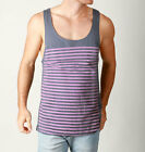 Mens SUPER STRIPE Loose Fit Singlet Casual Festival Cotton Tank- Charcoal