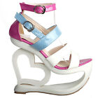 Sexy White Pink Blue Strappy Heart Heel Wedge Wedding Sandals Sz UK Size 2.5-8