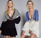 2016 Free People sexy deep V hollow embroidery cotton blend mini dress#5300
