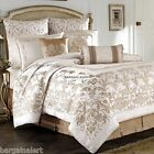 4pc ~ GOLD IVORY DAMASK MEDALLION QUEEN COMFORTER ~ Croscill Monroe ~MAGNIFICENT