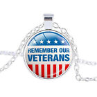 Glass Round Dome Art Pendant US Personalized Veterans Day Necklace Memorial Day
