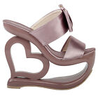 Retro Smoke Pink Bow Heart Heel Wedge Wedding Slip-ons Sandals Sz 4/5/6/7/8/9/10