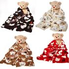 CUDDLY TEDDY BEAR PRINTED SHERPA BLANKET ,THROWS , SOFA, BED,BEDDING DOUBLE SIZE