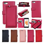 Magnetic Zipper Detachable PU Leather Coin Wallet Case Cover For iPhone Samsung