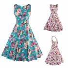 Vintage Women Floral Printed 50'S 60'S Retro Cocktail Party Sleeveless Dress