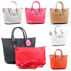 New Ladies Fashion Reversible Faux Leather Shopper Tote Shoulder Bag 2 in 1