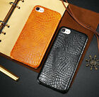 Ultra Thin Slim Case Crocodile Grain Leather Cover For Apple iPhone Series Phone