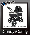 x2 iCandy Pram Replacement Chassi Vinyl Stickers Any Colour i candy 100 x 31mm