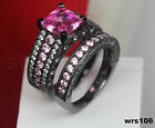 Black Silver Womens Pink Sapphire Asscher Cut Engagement Ring Wedding Ring Set