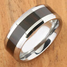 Cocobolo (Red Wood) Inlaid Tungsten Ring Beveled Edge wood Ring 8mm TUR063 image