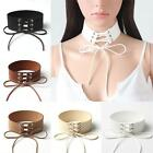 Gothic Punk Style 4cm Wide Suede Tie Up Choker Necklace Sexy Statement Jewellery
