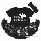 Happy Ghost Halloween Black Cotton Bodysuit Girls Pumpkin Cat Baby Dress NB-18M