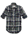 Mens CALI HOLI Muscle Fit Check Plaid Flannel Long Sleeve Shirt Olive 98130