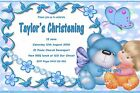Personalised Christening Baptism Naming Day Invitations - Cute Blue Baby Boy