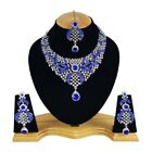 Designer Silver Plated Indian Handmade Party wear Kundan Zerconic Necklace set