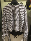 Women's Black and White Check Sleeve Lace-up Loose Crewneck Crop Blouse Top XS-L