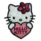 Iron on patches - Hello Kitty with heart Comic children – pink – 6x5,4cm - Appli