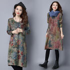 Fashion Women's Linen Flower/Tree Print Long Dress Long Sleeve Loose Dresses