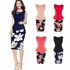 Sexy Bandage Women Floral Printed Bodycon Slim Party Office Sleeveless Dress