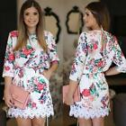 Autumn/Winter Fashion Womens 3/4 Sleeve Retro Floral Printed A Line Waist Dress