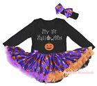 Birthday Black L/S Bodysuit Girls My 1st Halloween Pumpkin Baby Dress Set NB-18M