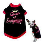 Dog T Shirt Rhinestone Queen XXS XS S M Black - Puppy Pet Clothes Chihuahua Coat