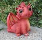 Winged Resin Baby Red Spike Dragon Mythical Vivid Arts Garden Ornament