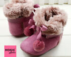 Purple Baby Fur Bobble Boots Winter Warm Soft Pram Cot Shoes by Moshi Babies