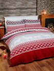 Rapport Red/Grey Fairisle Stag 100% Brushed Cotton Duvet Set CLEARANCE BARGAIN