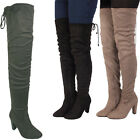 Ladies Women Suede Over The Knee Boots Block Thigh High Heel Lace Stretch Shoes