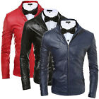 Men's Synthetic Leather Jacket Slim Stand Collar Motorcycle Jacket Coat Outwear
