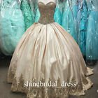 Luxury Gold Applique Lace Prom Quinceanera Gowns Satin Ball Gown Weding Dresses