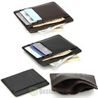 Men's Women's Leather Money Clip ID Credit Card Wallet Holder Slim Pocket Case image