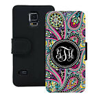 MONOGRAMMED WALLET CASE FOR SAMSUNG S5 S6 S7 BLACK PINK PAISLEY