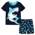 Pyjamas Boys Summer Pjs Set (sz 3-7) Navy Blue Shark Sz 3 4 5 6 7