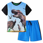 Pyjamas Boys Summer Pjs Set (sz 3-7) Black Dinosaur Sz 3 4 5 6 7