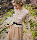 20's Vintage Lace Pleated Skirt Midi Dress Size S M Wedding Bridesmaid Beach