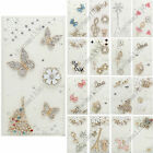 3D Bling Handmade Diamonds White PU Slot Leather Case Skin Cover For iPhone