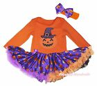Halloween Orange Cotton L/S Bodysuit Girls Pumpkin Witch Hat Baby Dress NB-18M