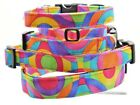 Bright Multi Color Rainbow Print Dog Pet Collar Handmade Fabric Adjustable