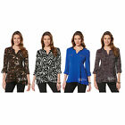 NWT RAFAELLA Women's Top Zip Pocket Roll-up Sleeve Sharkbite Blouse/Tunic $65