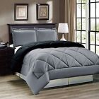 3 pcs Comforter Set Down Alternative Grey Black Reversible Twin Full Queen King image