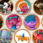 24 x TROLLS FILM MIXED TROLL Edible Cupcake Wafer Icing Cake Toppers
