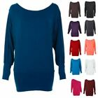 Ladies Long Sleeve Slouch Off Shoulder Oversized Batwing Womens Baggy Dress Top